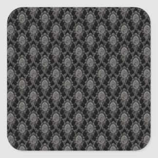 Black & Grey Old Victorian Pattern Design Texture Square Sticker