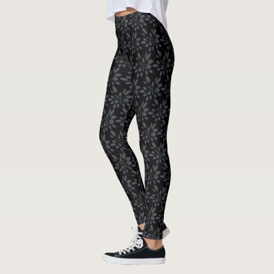 Black Grey Petal Tropical Floral Flower Pattern Leggings