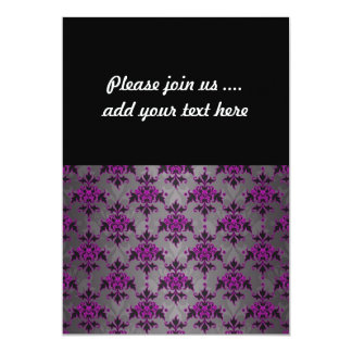 Black Grey Purple Victorian Damask Pattern 13 Cm X 18 Cm Invitation Card
