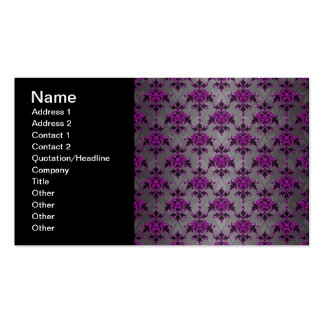 Black Grey Purple Victorian Damask Pattern Double-Sided Standard Business Cards (Pack Of 100)