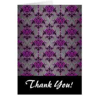 Black Grey Purple Victorian Damask Pattern Note Card