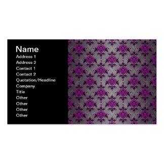 Black Grey Purple Victorian Damask Pattern Pack Of Standard Business Cards