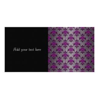 Black Grey Purple Victorian Damask Pattern Photo Greeting Card