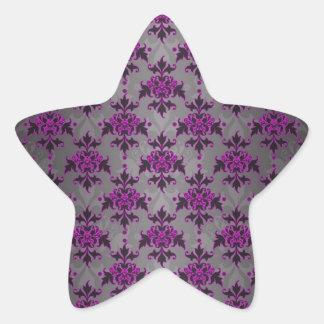 Black Grey Purple Victorian Damask Pattern Star Sticker