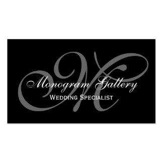 Black Grey Script Monogram Wedding Business Pack Of Standard Business Cards