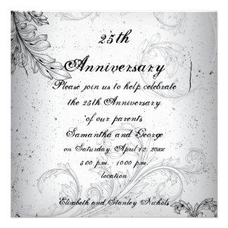 Black grey scroll leaf silver wedding anniversary invite