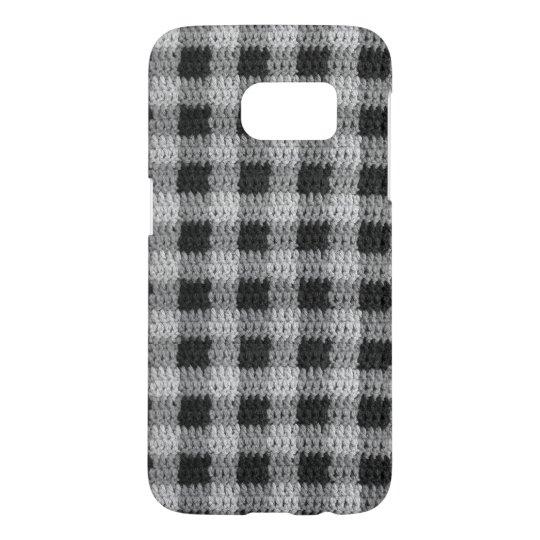 Black Grey Shades Gingham Plaid Pattern Crochet