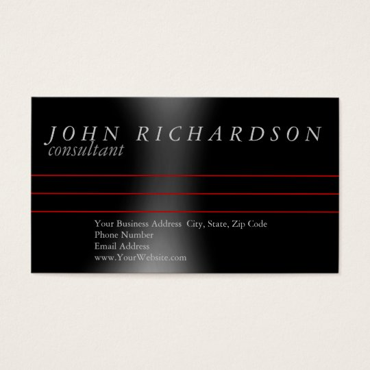 Black Grey Simple Modern Elegant Business Card