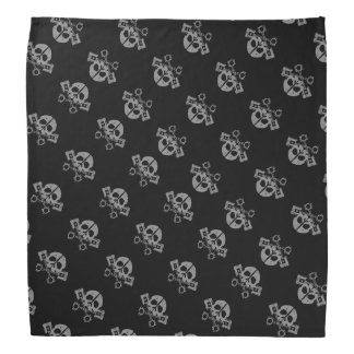 Black Grey Skulls and Pistons Biker Bandana
