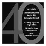 Black/Grey Square Big 40 Birthday Party Invitation
