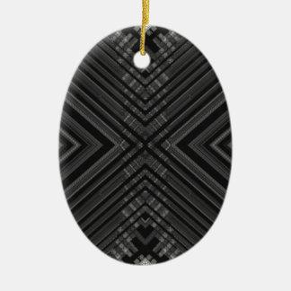 Black Grey Striped Christmas Ornaments