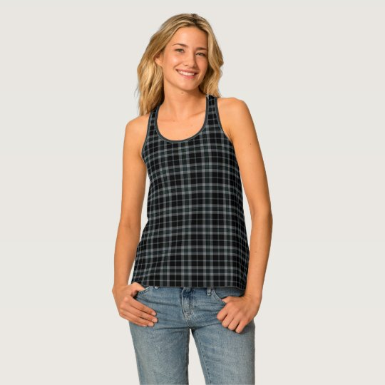 Black Grey Tartan Plaid Tank Top