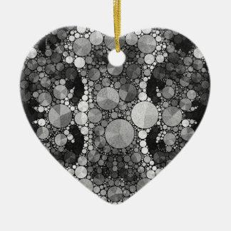 Black Grey Textured Ceramic Heart Ornament