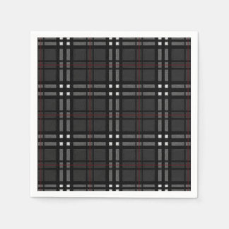 black grey white and red plaid disposable napkin