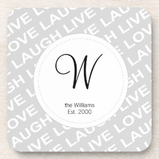 Black Grey White Love Text Pattern Coaster