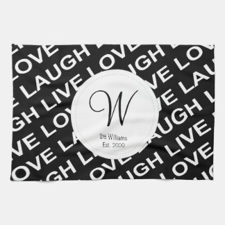 Black Grey White Love Text Pattern Kitchen Towels