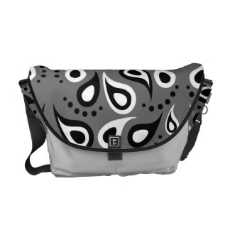 Black grey white Paisley pattern Courier Bag