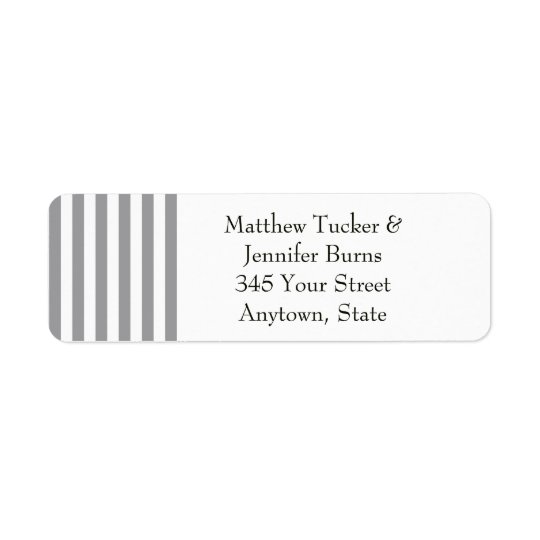 Black / Grey & White Striped Return Address Labels