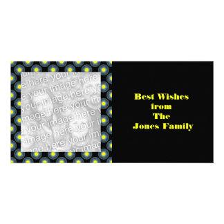 black grey yellow circles customized photo card