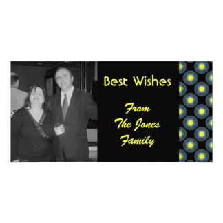 black grey yellow circles personalized photo card