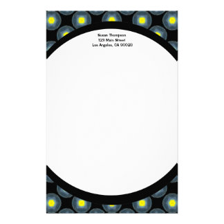 black grey yellow pattern personalised stationery