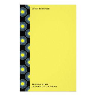 black grey yellow pattern stationery paper