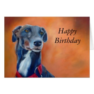 Black Greyhound birthday card (a396) title=