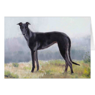 Black Greyhound Dog Art Note Card