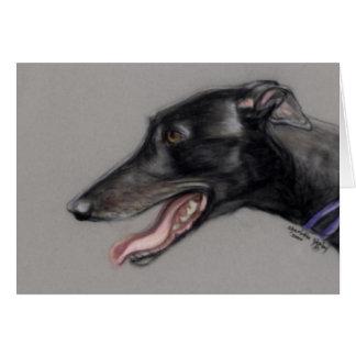 Black Greyhound Dog Art Notecard Note Card