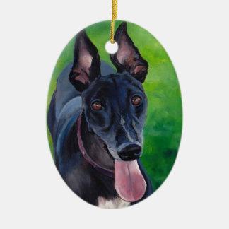 Black Greyhound Dog Art Ornament