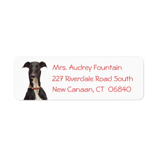 Black Greyhound Puppy Dog Red Return Address Return Address Label