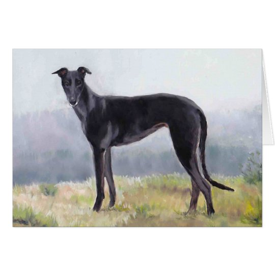 Black Greyhound Standing Dog Art Greeting Card