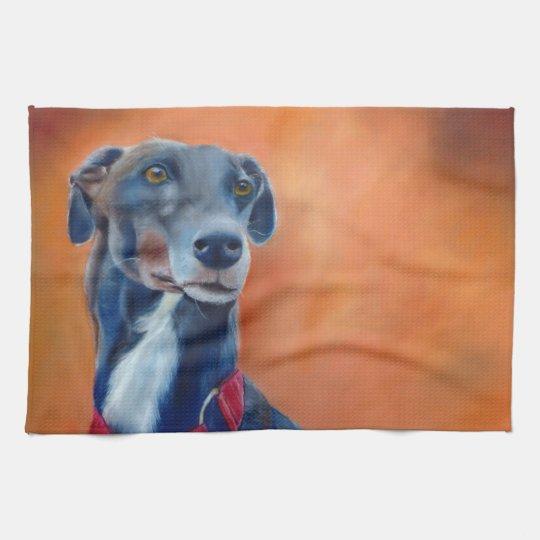 Black greyhound teatowel (a399) tea towel