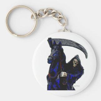 Black Grim Reaper Horseman w Neon by Valpyra Basic Round Button Key Ring
