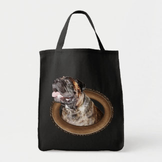 Black Grocery Tote Bag with Brindle Bullmastiff