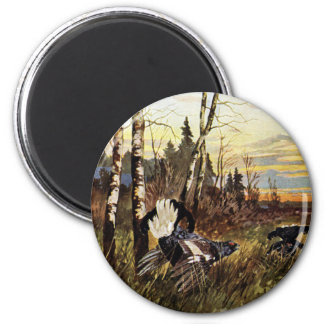 Black Grouse Mating Display 6 Cm Round Magnet