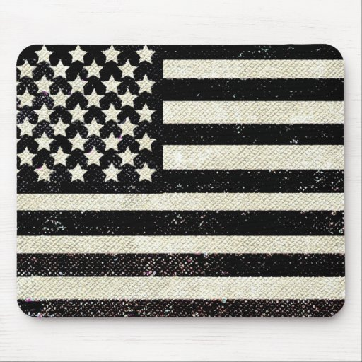 Black grunge American flag Mousepads