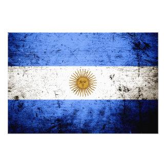 Black Grunge Argentina Flag Photograph