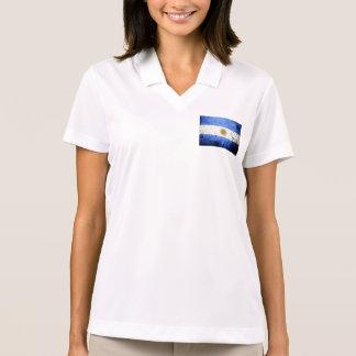 Black Grunge Argentina Flag Polo Shirt
