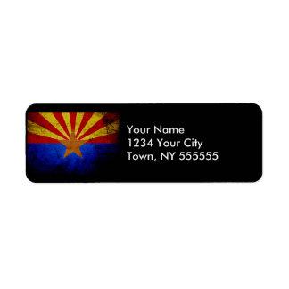 Black Grunge Arizona State Flag Return Address Label