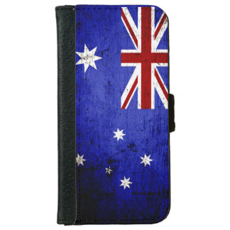 Black Grunge Australia Flag iPhone 6 Wallet Case