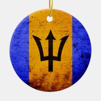 Black Grunge Barbados Flag Christmas Ornament