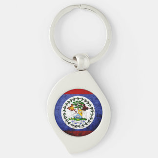Black Grunge Belize Flag Silver-Colored Swirl Key Ring
