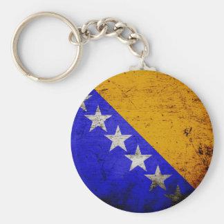 Black Grunge Bosnia and Herzegovina Flag Basic Round Button Key Ring
