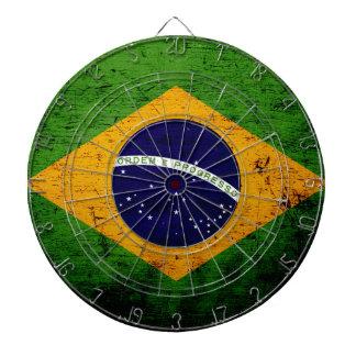 Black Grunge Brazil Flag Dartboard