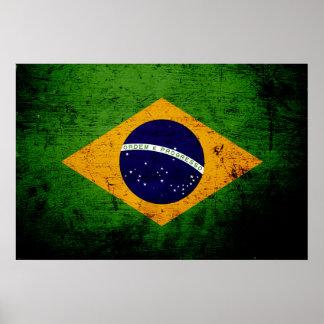 Black Grunge Brazil Flag Print