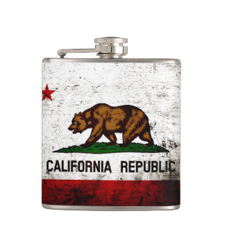 Black Grunge California State Flag Hip Flask