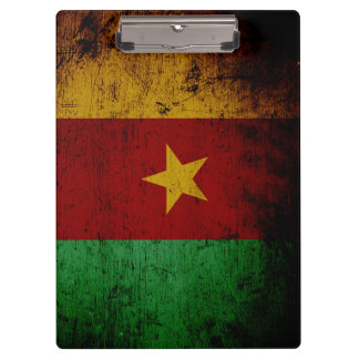 Black Grunge Cameroon Flag Clipboard