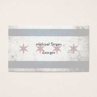 Black Grunge Chicago Flag Business Card
