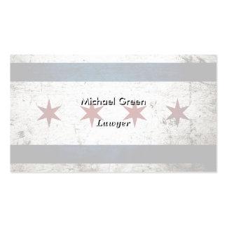 Black Grunge Chicago Flag Pack Of Standard Business Cards